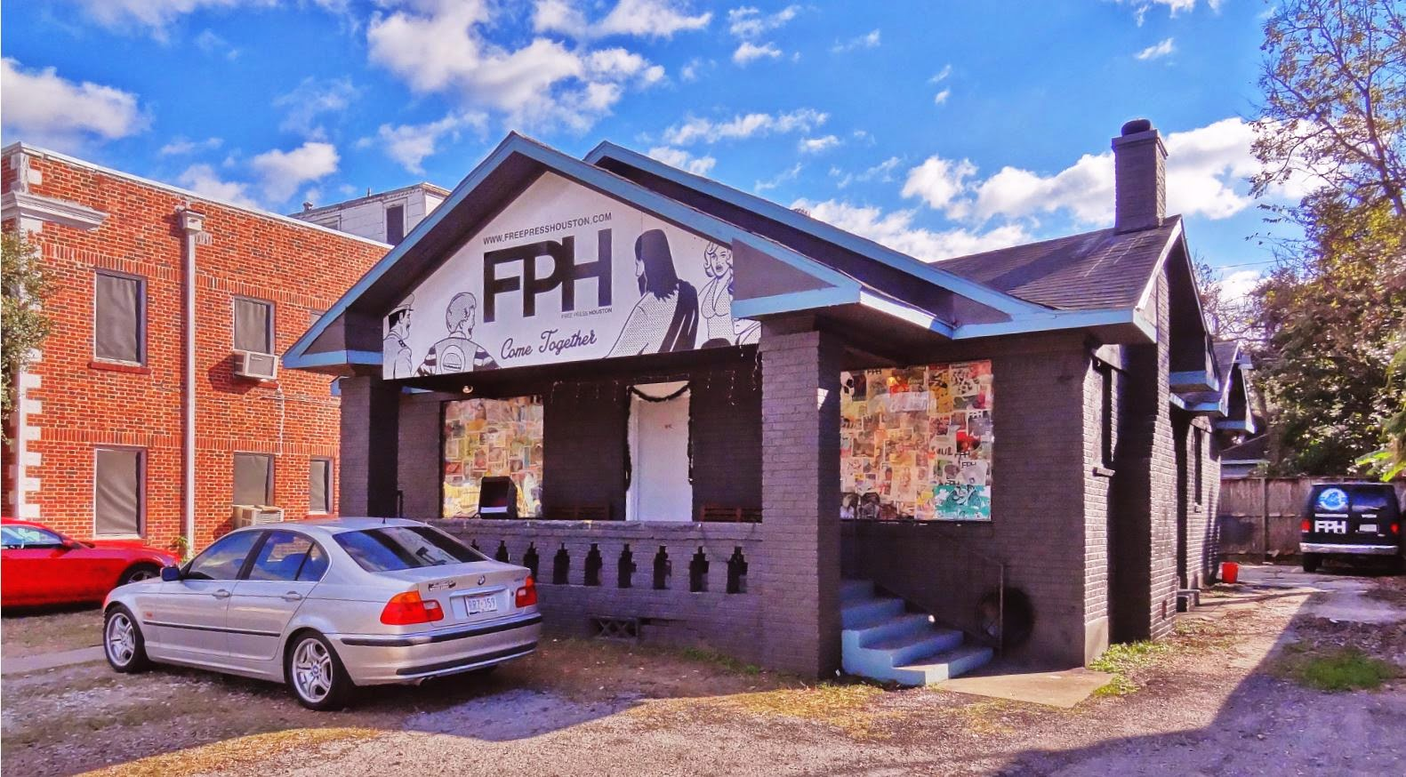 FPH - Free Press Houston - Office in bungalow on Lower Westheimer in Montrose 2014-12 street pic